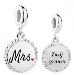 Charms do Pandora z Grawerem  Mrs.